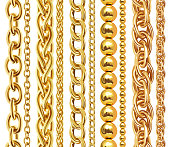 Set of realistic vector golden chains