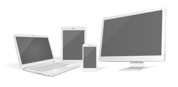 Set of realistic vector graphic computer monitor, laptop, tablet and phone on a white background. – artystyczna grafika wektorowa