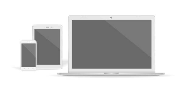 Set of realistic vector graphic laptop, tablet and phone on a white background. – artystyczna grafika wektorowa
