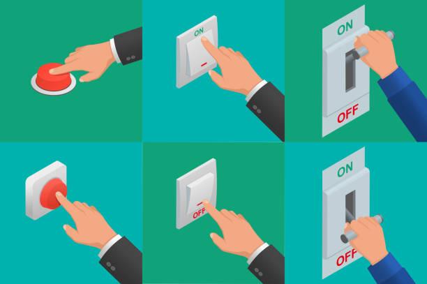 ilustraciones, imágenes clip art, dibujos animados e iconos de stock de conjunto de manos de vector realista botones - interruptor