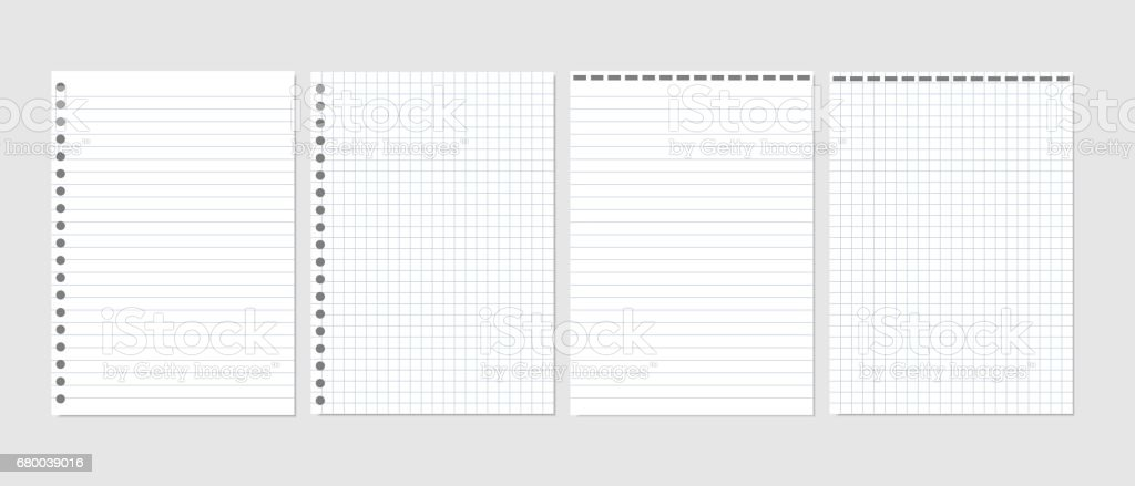 Set Of Realistic Vector Illustration Of Blank Sheets Of Square And Lined  Paper From A Block  Lined Blank Paper
