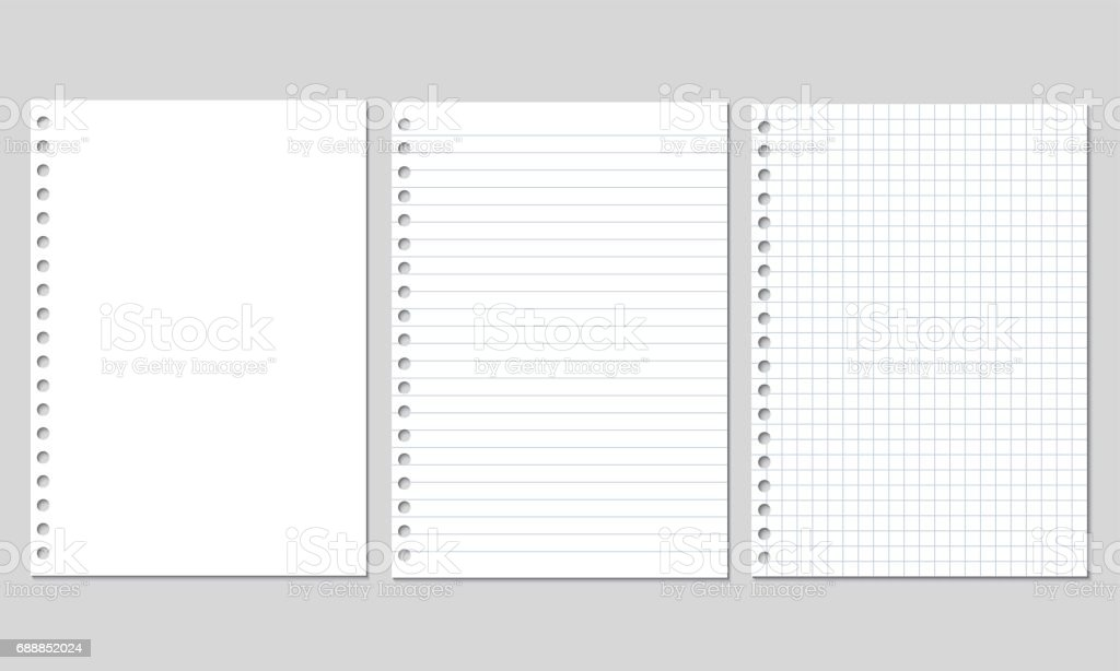 Set of realistic vector illustration of blank sheets of square and lined paper from a block isolated on a gray background vector art illustration