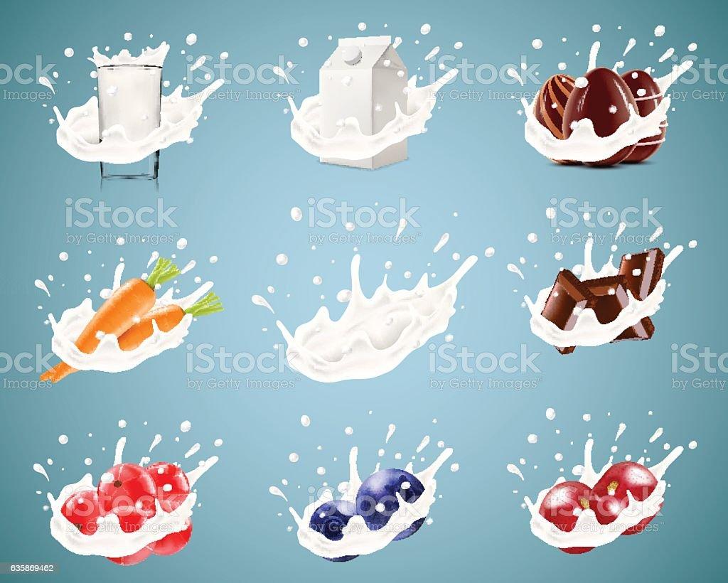 Set of realistic vector illustration of milk splash vector art illustration