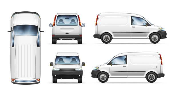 Set of realistic vector illustrations of mini van from different view. Set of realistic vector illustrations of mini van from top, side, front and back view. van vehicle stock illustrations