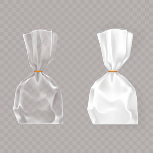 satz von realistische vektor-illustrationen der kunststoffverpackungen weiß und transparent luft geblasen. - vakuumverpackung stock-grafiken, -clipart, -cartoons und -symbole