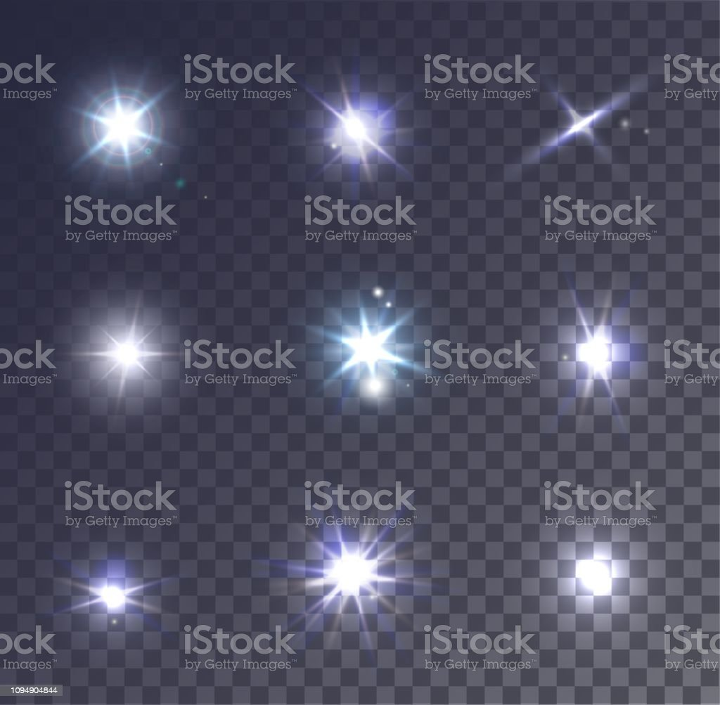 Set of realistic vector lens flare on a transparent background....