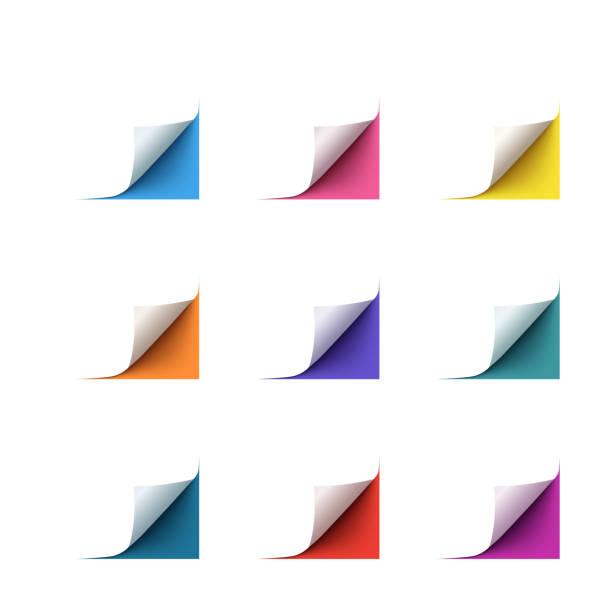 satz von realistischen vektor-papier-ecken auf weißem hintergrund - buchseite stock-grafiken, -clipart, -cartoons und -symbole