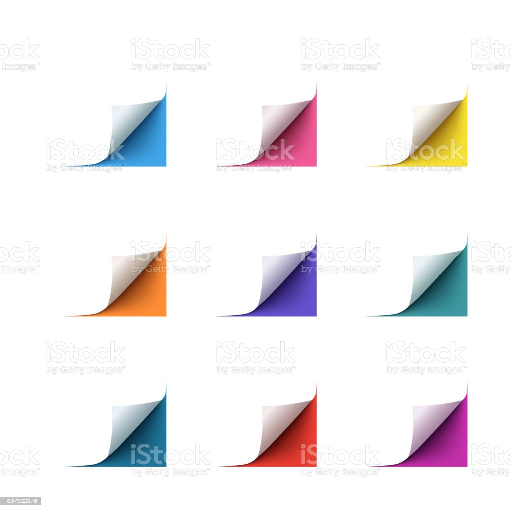 Set of realistic vector paper corners on white background vector art illustration