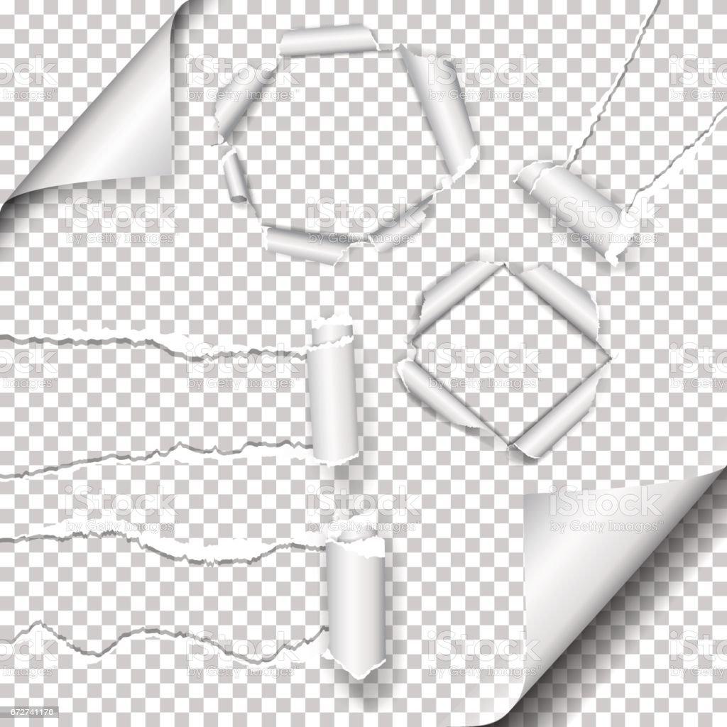 Ensemble de Realistic vector papier déchiré et trou dans le papier avec bords déchirés avec espace pour votre texte. - clipart vectoriel de Abstrait libre de droits