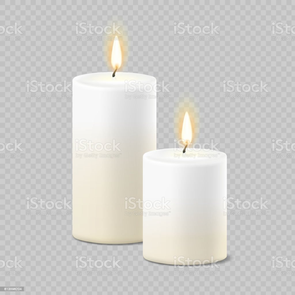 Set of realistic vector white candles with fire on transparent background. Cylindrical aromatic candle sticks with burning flames vector art illustration