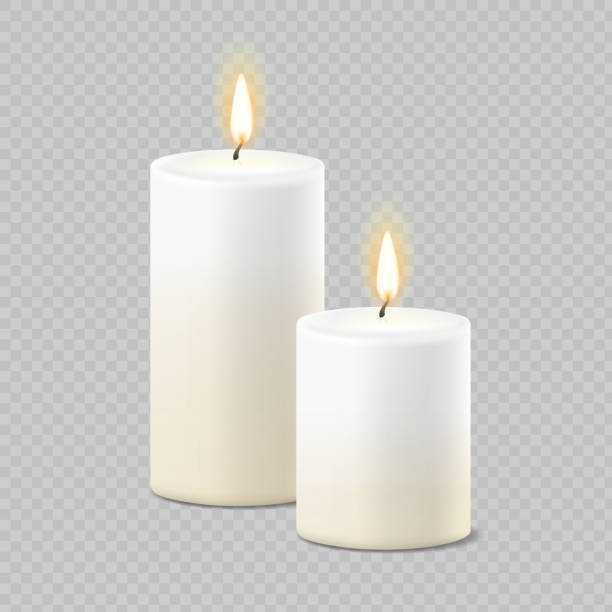 Set of realistic vector white candles with fire on transparent background. Cylindrical aromatic candle sticks with burning flames Set of realistic vector white candles with fire on transparent background. Cylindrical aromatic candle sticks with burning flames . candle stock illustrations