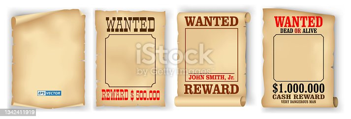 istock set of realistic wanted poster isolated or vintage scroll parchment manuscripts or grunge old paper brown poster template. eps vector 1342411919