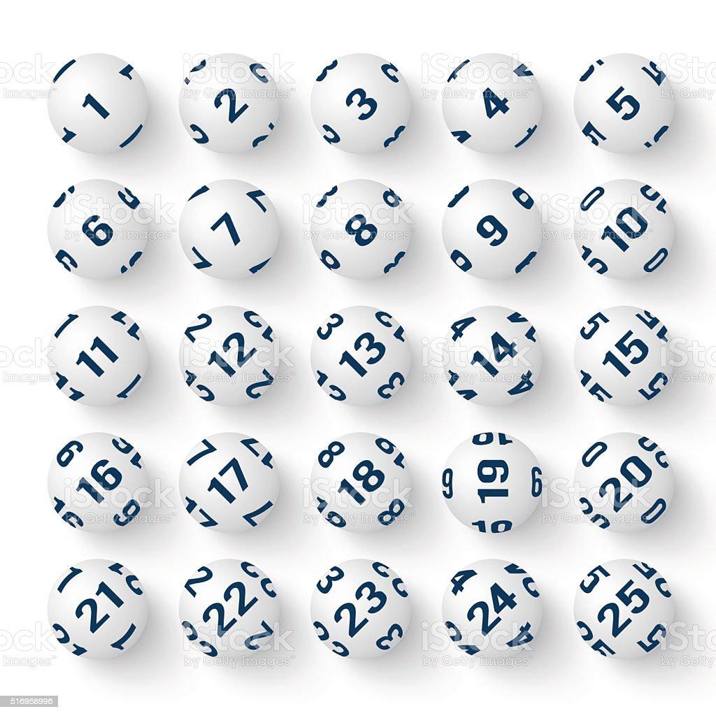 Set of realistic white bingo balls vector art illustration