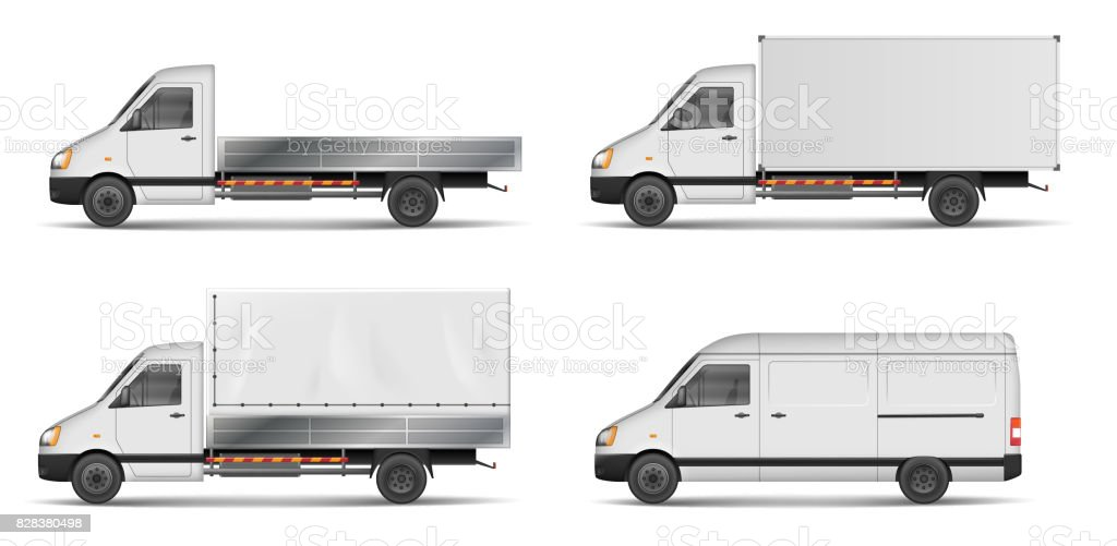 Set of realistic white cargo vehicles. vector illustration with heavy truck, trailer, lorry, Mini bus, delivery van isolated. Side view mockup vector art illustration