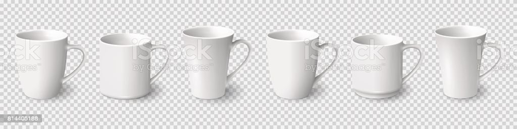 Set of realistic white coffee mugs isolated on transparent background royalty-free set of realistic white coffee mugs isolated on transparent background stock illustration - download image now