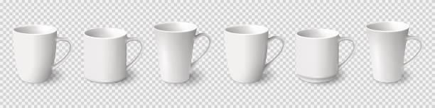 bildbanksillustrationer, clip art samt tecknat material och ikoner med uppsättning av realistiska vita kaffemuggar isolerad på transparent bakgrund - kaffekopp