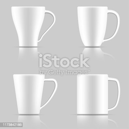 Set of realistic white coffee mugs on a grey background.