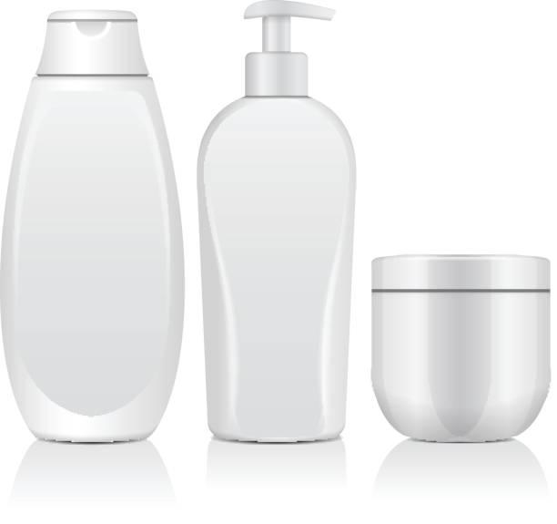リアルな白化粧品ボトルのセットです。チューブ、クリーム コンテナー、dispencer の瓶。ベクトル図モックアップ - 体 洗う点のイラスト素材/クリップアート素材/マンガ素材/アイコン素材