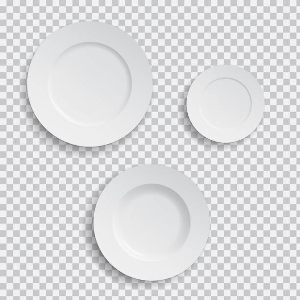 illustrazioni stock, clip art, cartoni animati e icone di tendenza di set of realistic white plates on transparent background - vector - piatto stoviglie