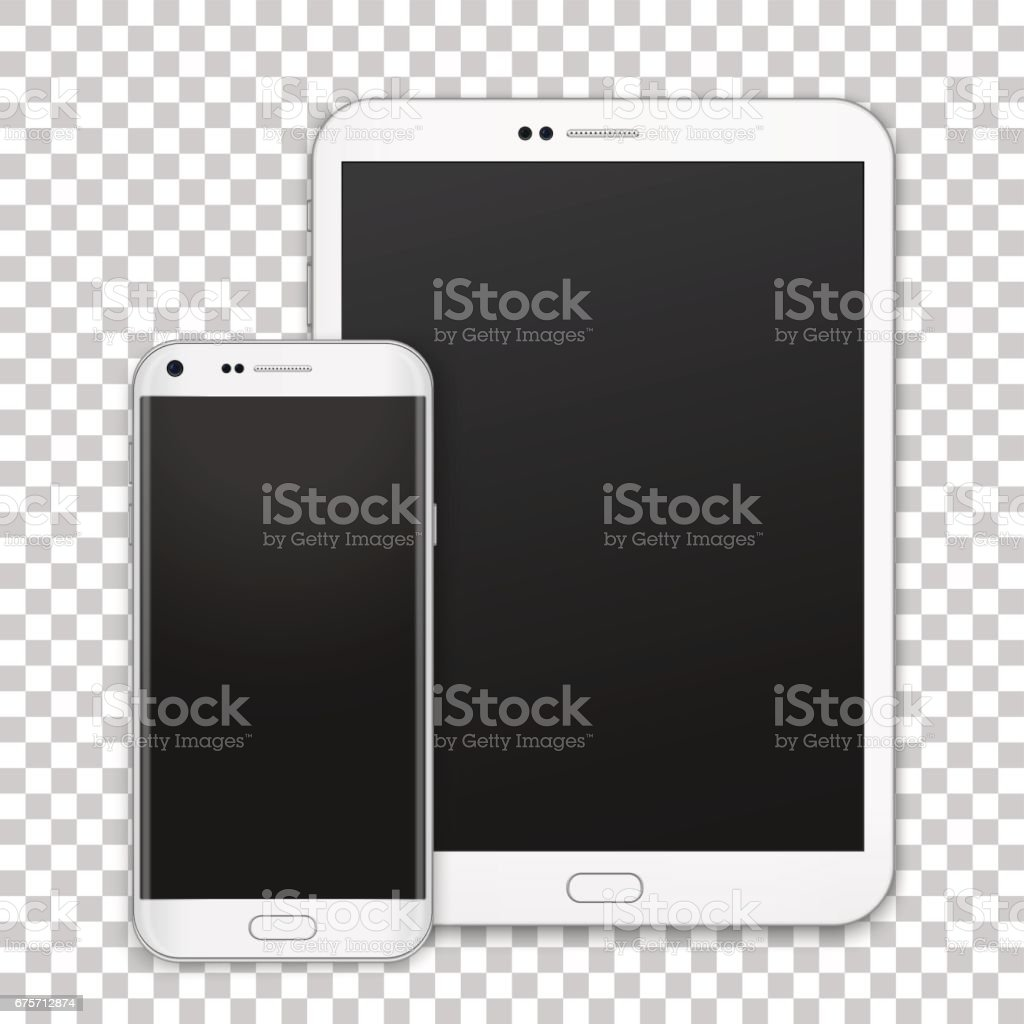 Set of realistic white tablet and mobile phone with empty screen. New electronic gadget collection. vector art illustration