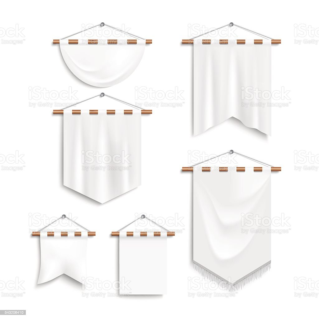 Set of realistic white textile banners vector art illustration