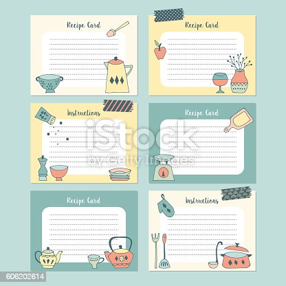 Set of recipe cards with hand drawing kitchen utensil. Isolated