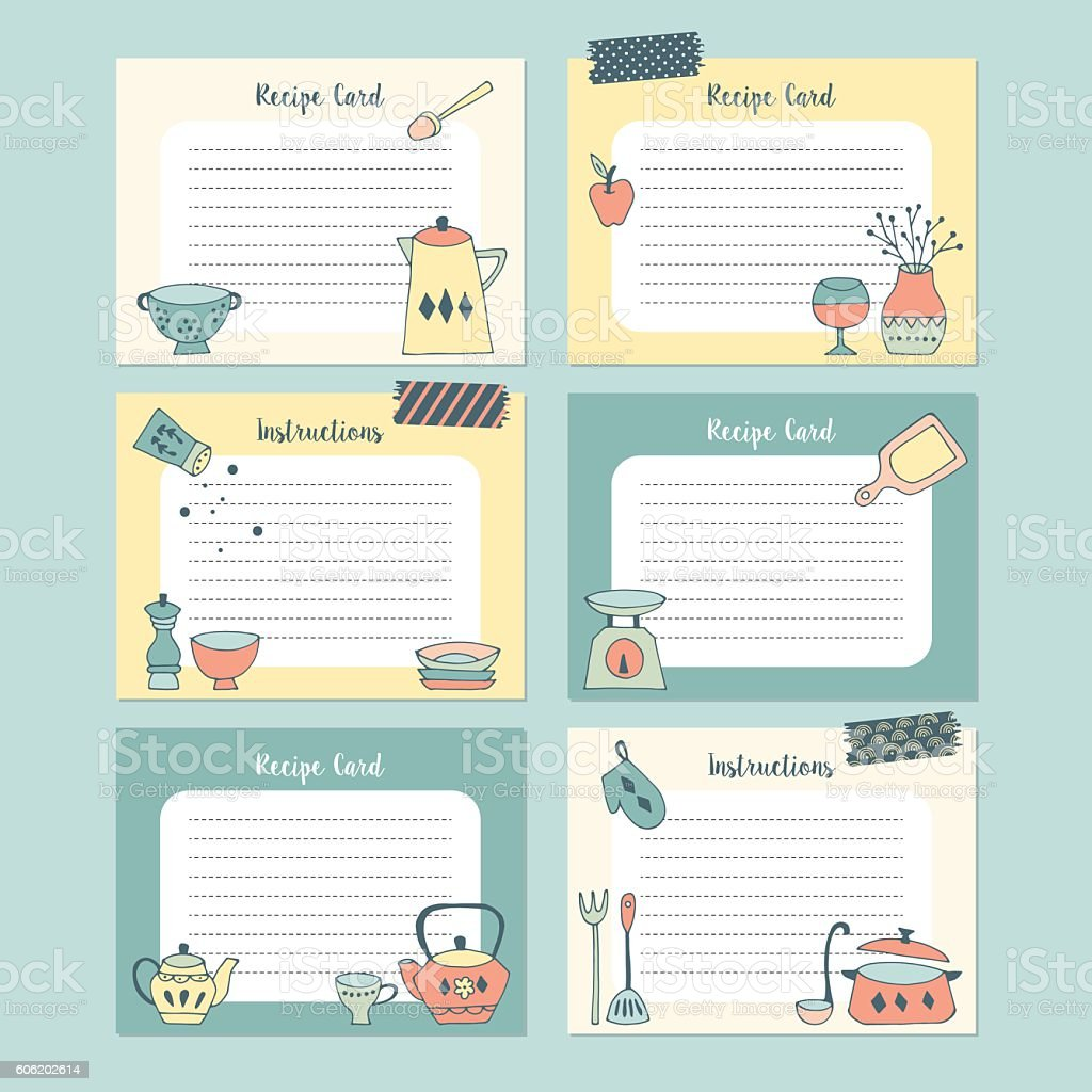 Set of recipe cards with hand drawing kitchen utensil. Isolated vector art illustration