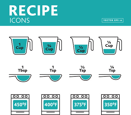 Vector illustration of units and measures for recipe blogs, cooking classes or any food and drink instructions. Includes Measuring cups with various amounts, Tablespoon and Teaspoon measurements and increments. Oven temperatures ranging from 300 - 400 degrees for baking in oven temperatures. Includes vector eps and jpg in download. Easy to edit vector format.