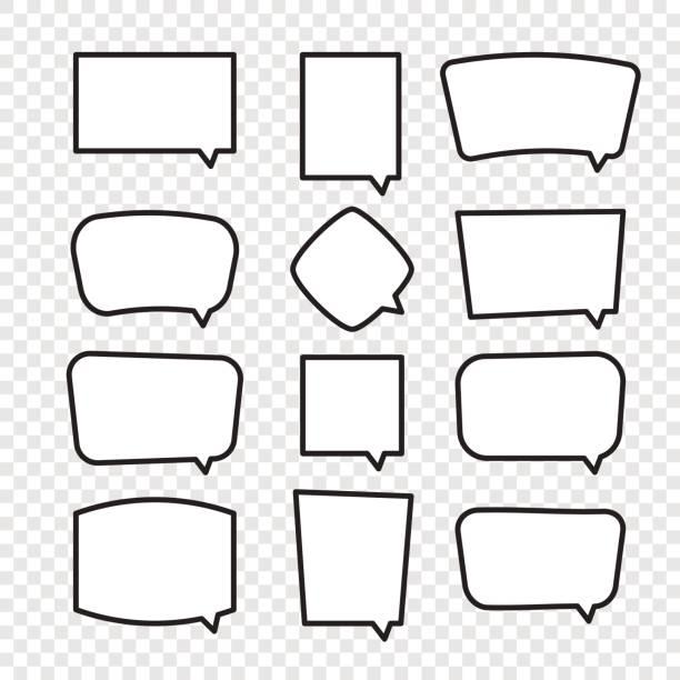Reihe von Comic-Sprechblasen Rechteck. – Vektorgrafik