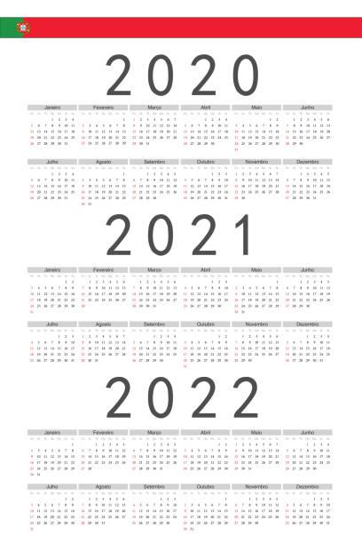 zestaw prostokąta portugalski 2020, 2021, 2022 kalendarze wektorowe roku. - kultura portugalska stock illustrations