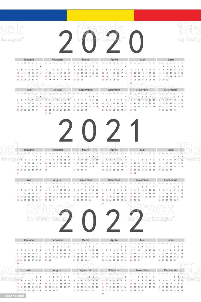 Set Of Rectangle Romanian 2020 2021 2022 Year Vector ...
