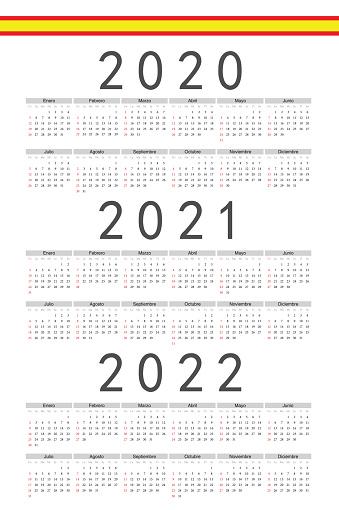 Set of rectangle Spanish 2020, 2021, 2022 year vector calendars.