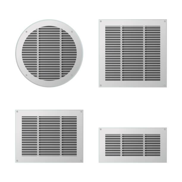 A set of rectangular and circular ventilation grilles. A set of rectangular and circular ventilation grilles. Exhaust and supply ventilation system. Vector illustration. air duct stock illustrations