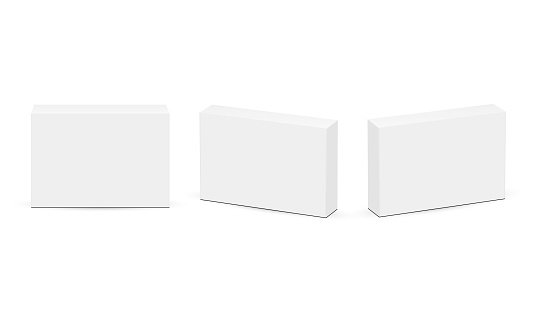 Set of Rectangular Boxes for Pills or Medicaments, Front and Side View