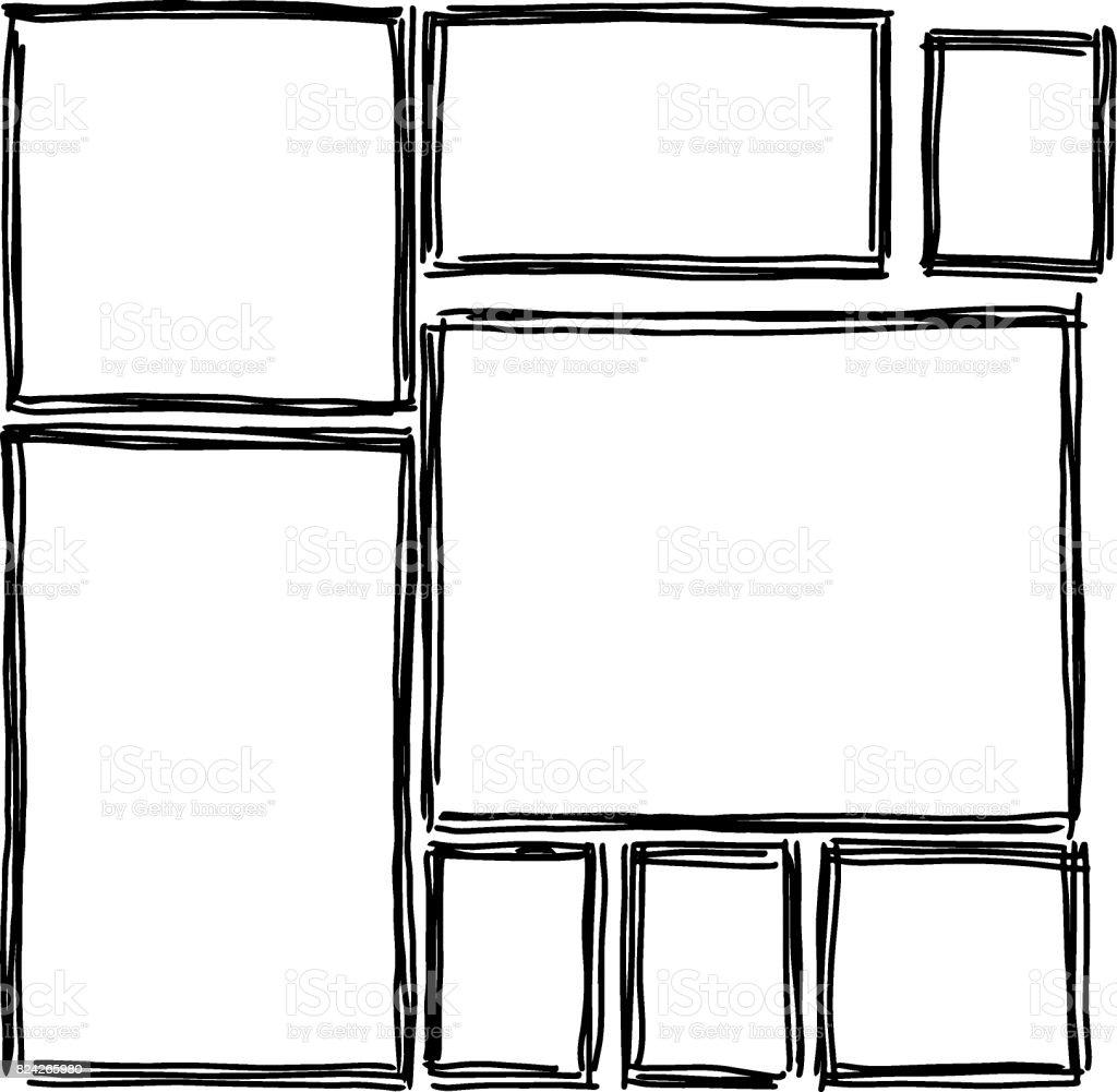 Conjunto De Marcos Rectangulares Garabatos Negro Blanco - Arte ...