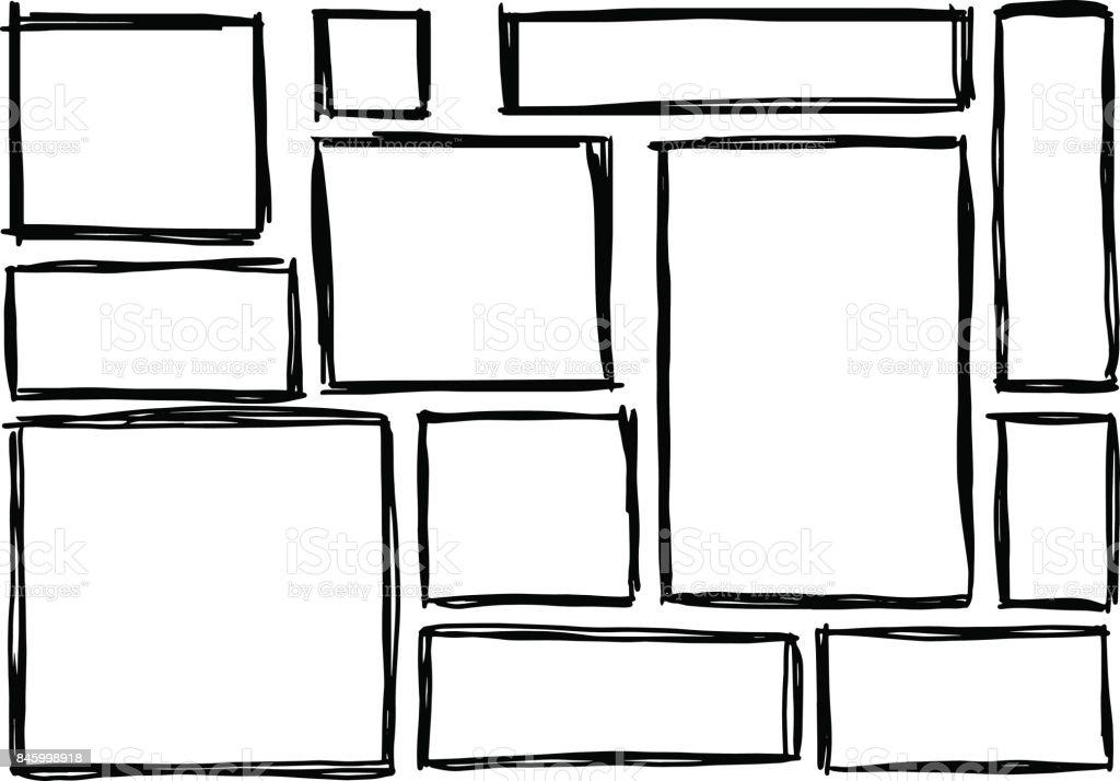 Ilustración de Conjunto De Marcos Rectangulares Garabatos Negro ...