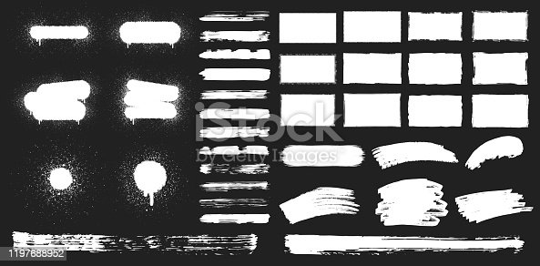 Set of rectangular grunge rough shapes, paint brushes, spray paint frames. Vector isolated airbrush ink background. Chalk edge box graphic. Distressed badge.