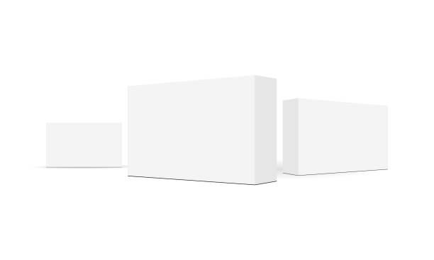 illustrazioni stock, clip art, cartoni animati e icone di tendenza di set of rectangular packaging boxes isolated on white background - packaging