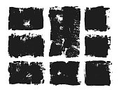 Set of rectangular text box. Grunge paint stripe. Vector brush stroke. Black isolated paintbrush collection.Vector grunge spots with place for your text. Paint banners.