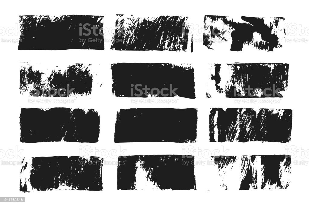 Set Of Rectangular Text Box Grunge Paint Stripe Vector Brush Stroke