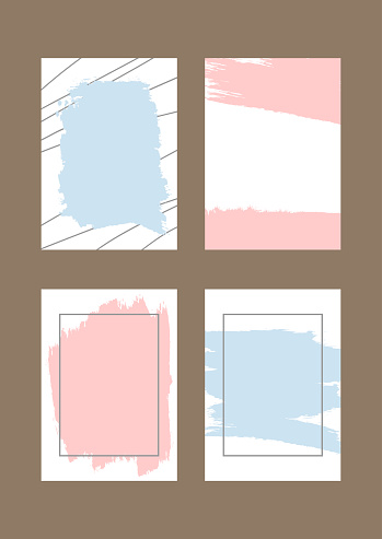 Set of rectangular vertical backgrounds with brush strokes and frames. Grunge, sketch, splash, watercolor.