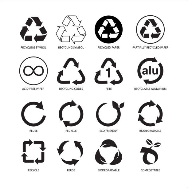 set of recycle symbol vector illustration isolated on white background - recycling stock illustrations