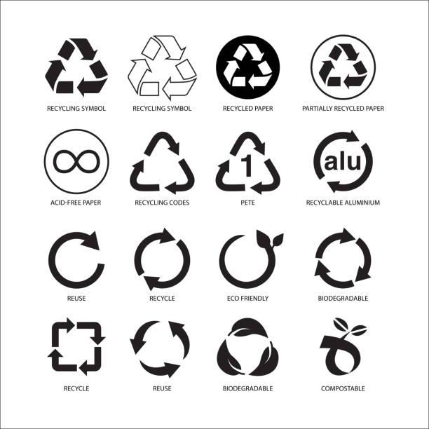 satz der wiederverwertung symbol vektorillustration isoliert auf weißem hintergrund - recycling stock-grafiken, -clipart, -cartoons und -symbole