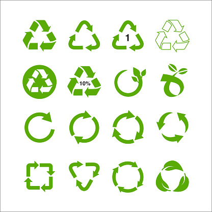Recycle and ecology icons collection reuse refuse concept, recycled paper and industrial package marks vector illustration isolated on white background