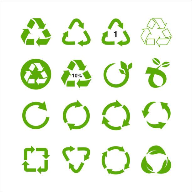 satz von recycling-symbol-vektor-illustration isoliert auf weißem hintergrund - recycling stock-grafiken, -clipart, -cartoons und -symbole