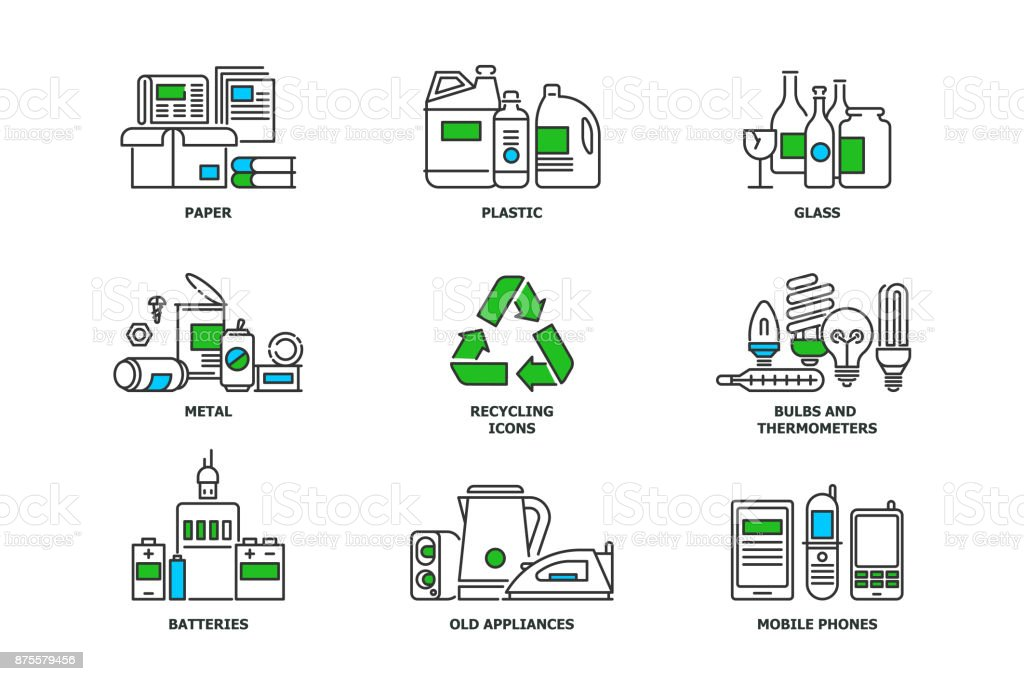 Set of recycling icons in line design. Recycle vector flat illustrations. Waste paper, metal, plastic, glass, bulbs, e-waste, mobiles and appliances icons isolated on while background stock vector royalty-free set of recycling icons in line design recycle vector flat illustrations waste paper metal plastic glass bulbs ewaste mobiles and appliances icons isolated on while background stock vector stock illustration - download image now