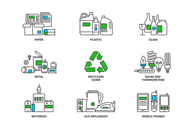 Set of recycling icons in line design. Recycle vector flat illustrations. Waste paper, metal, plastic, glass, bulbs, e-waste, mobiles and appliances icons isolated on while background stock vector Set of recycling icons in line design. Recycle vector flat illustrations. Waste paper, metal, plastic, glass, bulbs, e-waste, mobiles and appliances icons isolated on while background stock vector. bottle bank stock illustrations