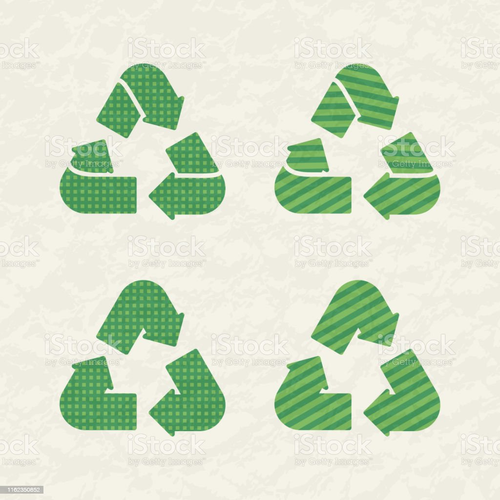 Set of recycling signs. Icons with flat style with dotted texture....