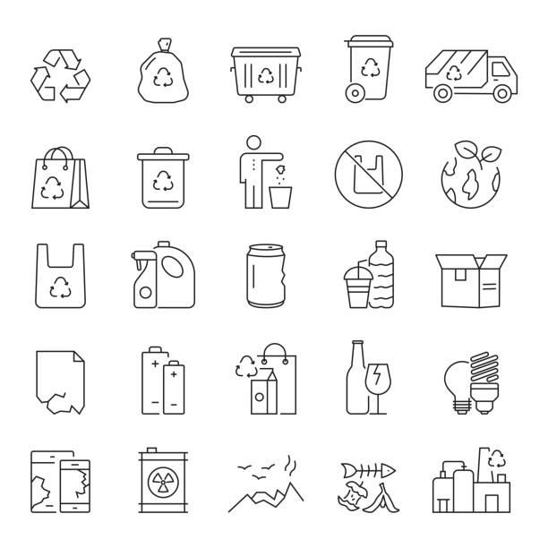 illustrazioni stock, clip art, cartoni animati e icone di tendenza di set of recycling, waste management and zero waste related line icons. editable stroke. simple outline icons. - sustainability icons