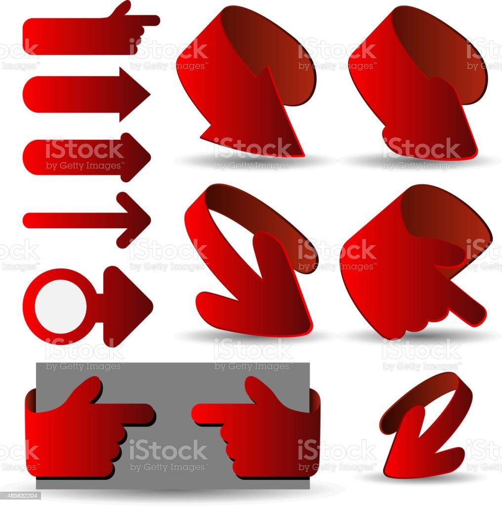 の赤の 3 d 矢印紙カットイラストクリップアート - 2015年のベクター